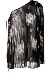 Etro One-Shoulder Pleated Blouse - Preto