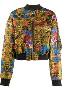 Versace Jeans Couture Jaqueta Bomber Com Estampa Floral - Amarelo