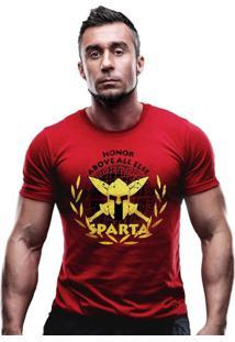 Camiseta Team Six Militar Molon Labe Estampa Dourada Vermelho