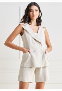 Colete Mx Fashion De Linho Manuela Cru - Tricae