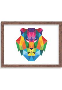 Quadro Decorativo Leão Abstrato Colorido Madeira - Grande