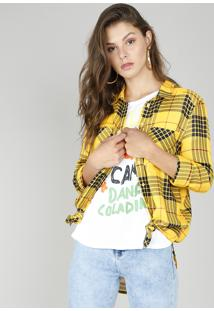 Camisa Feminina Longa Estampada Xadrez Manga Longa Amarela