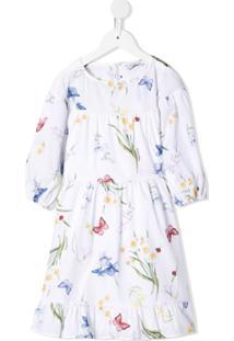 Monnalisa Camisa Com Estampa De Borboleta E Acabamento Engomado - Branco