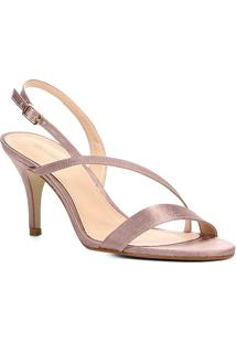 Sandália Shoestock Salto Fino Cetim Feminina - Feminino-Rosa Claro