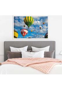 Quadro Love Decor Com Moldura Balloons In The Sky Branco Médio