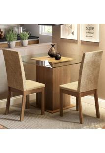 Conjunto Sala De Jantar Madesa Cau Mesa Tampo De Vidro Com 2 Cadeiras Marrom - Marrom - Dafiti