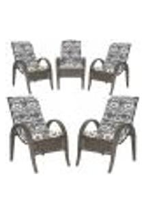 Cadeiras 5Un P/ Jardim Lazer Edicula Varanda Descanso Fibra E Tramas Napoli Plus Pedra Ferro A25