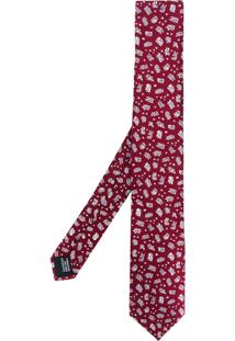 Lanvin Gravata De Seda Com Padronagem - Vermelho