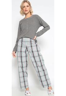 Pijama Manga Longa & Calã§A Xadrez- Cinza & Brancosonhart