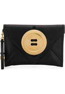 Moschino Oversize Button Clutch Bag - Preto