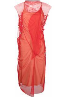 Maison Margiela Vestido Translúcido Com Efeito Franzido - Vermelho