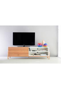 Rack Tv Contemporâneo-Moderno Eric 1600 Mdf Branco Pés Madeira Cor Jatobá Porta De Madeira De Correr - 166X43,6X48,5 Cm