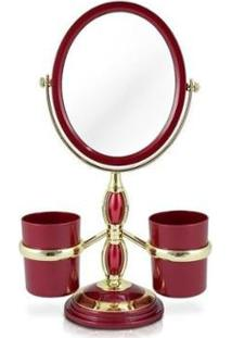 Espelho Jacki Design De Bancada Com Suportes Laterais - Unissex-Vermelho