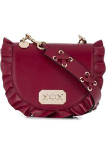 Red Valentino Red(V) Frill Detail Shoulder Bag - Vermelho