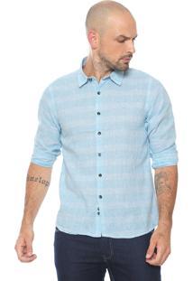 Camisa Yacht Master Reta Xadrez Azul