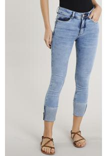 Calça Jeans Feminina Cropped Barra Virada Azul Claro