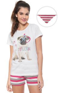 Pijama Malwee Liberta Pugcorn Branco/Rosa