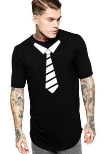 Camiseta Criativa Urbana Long Line Oversized Gravata - Masculino-Preto