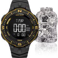 63cb7ba0abe Kit Relógio Masculino Mormaii Com Mochila Advertmonk005