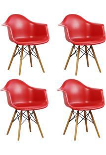 Kit Cadeira Design Charles Eames Wood 4Pçs Vermelha Trevalla