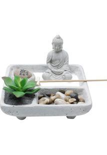 Peça Decorativa Buddah Zen Garden Com Cachepot- Cinza & Urban