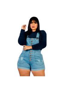 Jardineira Jeans Short Plus Size Barra Feita Botões Frontal Azul