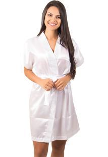 Robe Bella Fiore Modas De Cetim Liso Branco