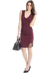 Vestido Slim Calvin Klein - Feminino-Bordô