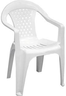Cadeira Poltrona Plástica Com Braço Para Piscina / Jardim Donfin Vanny - Branca