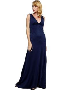 Vestido Para Noite Energia Fashion Liso Azul Marinho
