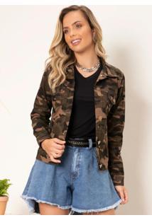Jaqueta Camuflada Em Sarja Com Botões