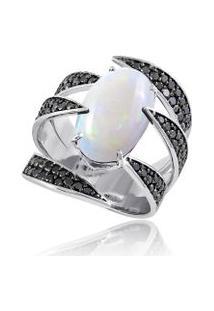 Anel Nice Garras Noir Branco C/ Opala E Diamantes Black - 17