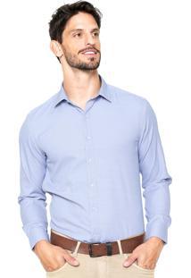 Camisa Vivacci Full Poá Azul