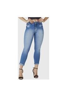 Calça Cropped Jeans Zuren Skinny Delavê Azul