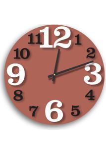 Relógio De Parede Premium Cobre Metálico Com Números Em Relevo Preto Ônix E Branco 50Cm Grande