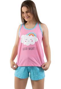 Baby Doll 4 Estações Pijama Nuvem Regata Curto Feminino Fechado Verão Rosa