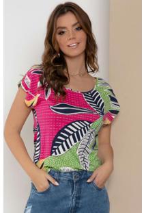 Blusa Com Mangas Curtas Folhagem Rosa