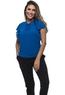 Blusa Clara Arruda Decote Laço Feminina - Feminino-Azul