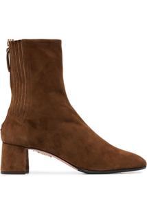 Aquazzura Ankle Boot 'Saint Honore' De Couro - Marrom
