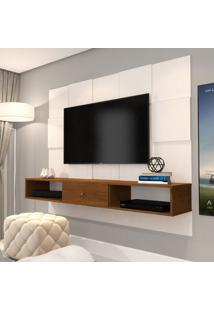 Painel Para Tv Até 50 Polegadas Luxo Pérola E Caramelo