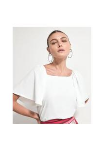 Blusa Manga Borboleta Com Decote Quadrado | Cortelle | Branco | M