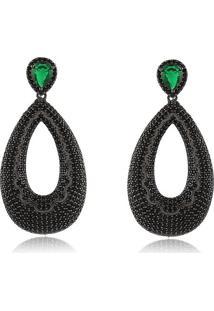 Brinco Luxo Com Gota Vazada Cravejado Com Micro Zirconias Black E Pedra Verde Esmeralda Banhado Em Ródio Negro