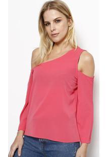Blusa Lisa Ombro Vazado - Rosa - Moisellemoisele