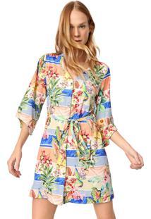 Vestido Chemise New Beach Curto Saint Tropez Coral/Verde