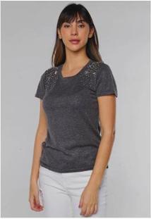 Blusa De Lurex Com Pedrinhas E Estrelas Aplicadas Under79 Feminina - Feminino