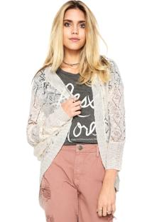 Cardigan Gris Tricot Amplo Bege