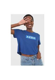 Camiseta Cropped Aeropostale Logo Azul