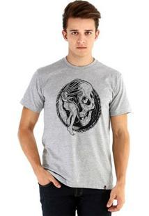 Camiseta Ouroboros Manga Curta Tempo Masculina - Masculino-Cinza