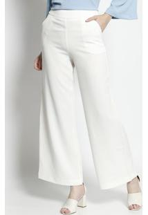 Calça Pantalona Texturizada - Off White- Moiselemoisele