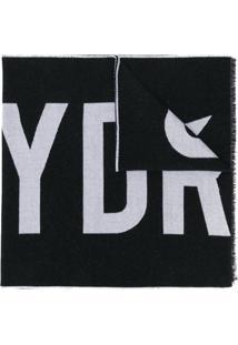 Hydrogen Cachecol De Lã Com Logo - Preto